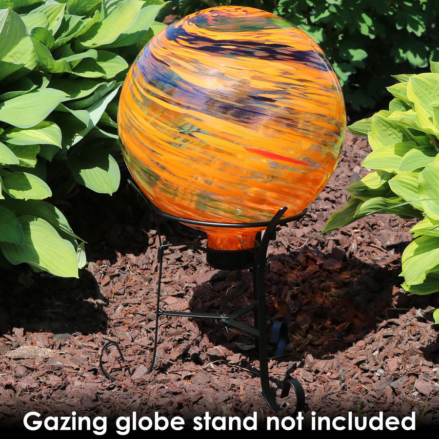 Sunnydaze Sunset Sky Glass Outdoor Gazing Ball Globe, 10-Inch