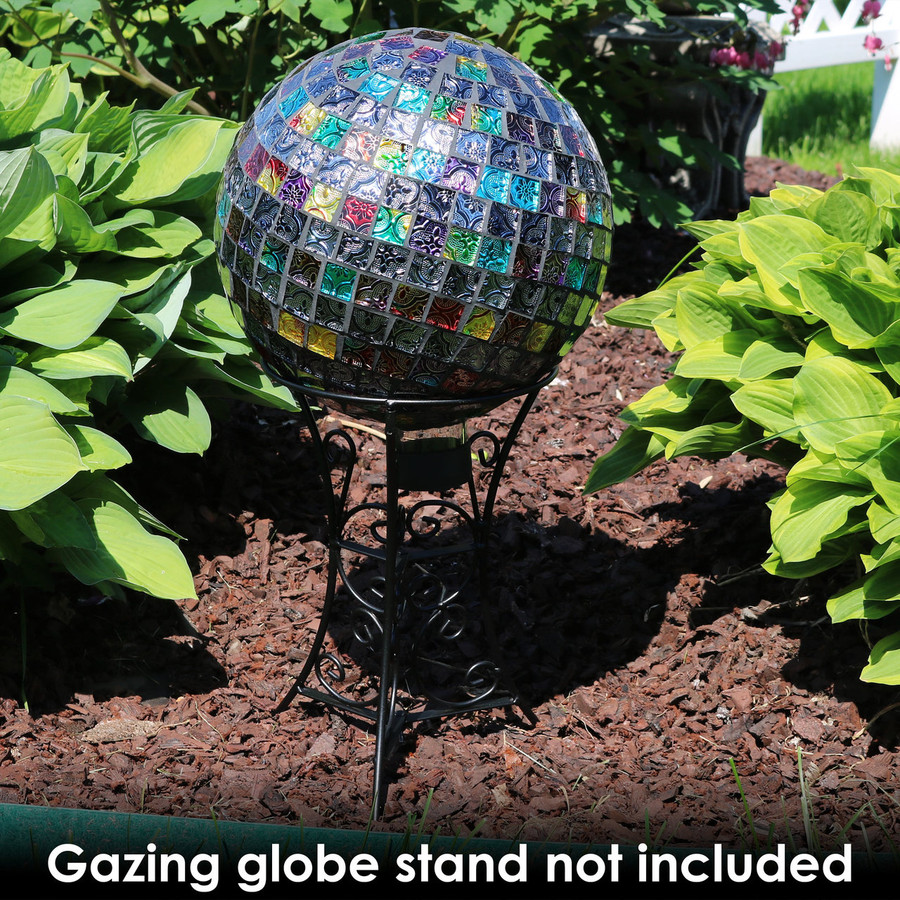 Sunnydaze Multi-Colored Tiled Mosaic Outdoor Gazing Globe Ball, 10-Inch