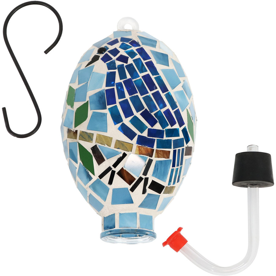 Sunnydaze Mosaic Bluebird Outdoor Hummingbird Feeder, 6-Inch