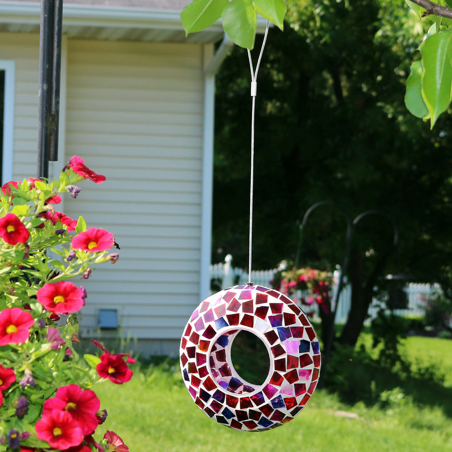 Sunnydaze Crimson Mosaic Fly-Through Hanging Outdoor Bird Feeder, 7-Inch