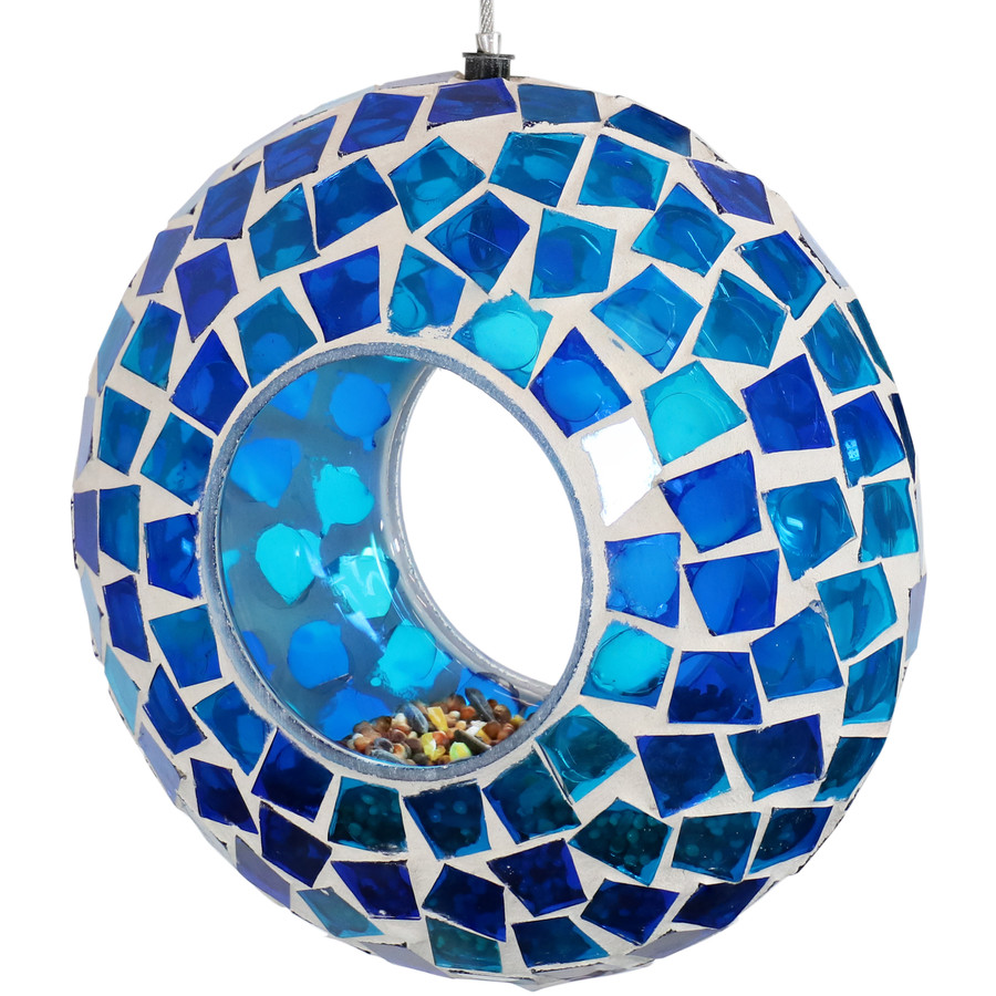 Blue Mosaic Fly-Through Hanging Outdoor Bird Feeder with Bird Seed (Seed NOT Included)