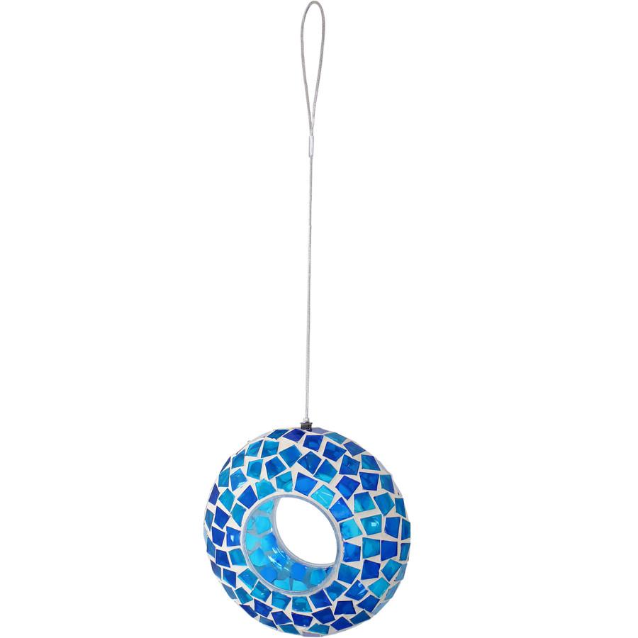 Blue Mosaic Fly-Through Hanging Outdoor Bird Feeder