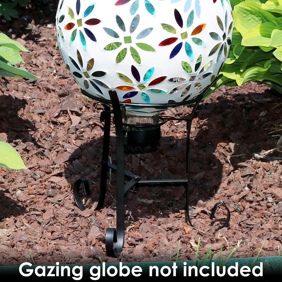 Black Steel Traditional Style Gazing Globe Stand with Gazing Globe (Gazing Globe Not Included)