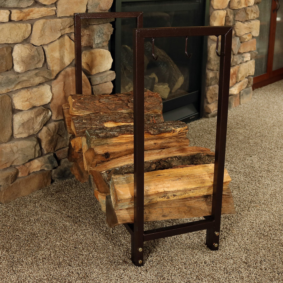 Sunnydaze 30 Inch Bronze Steel Indoor/Outdoor Firewood Log Rack