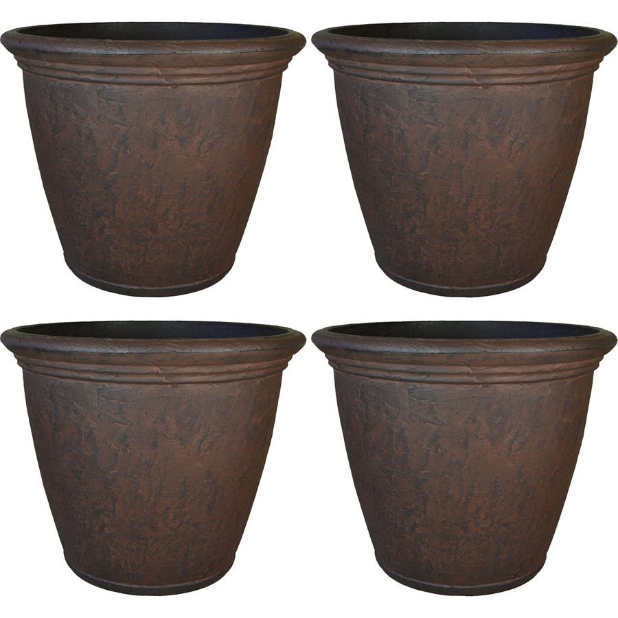 Anjelica 24-Inch Diameter Planter with Rust Finish, Set of 4