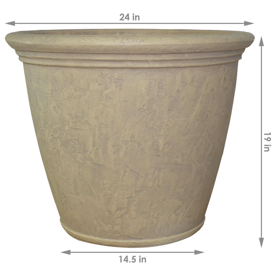 Dimensions of Anjelica Pebble Gray Indoor/Outdoor Planter