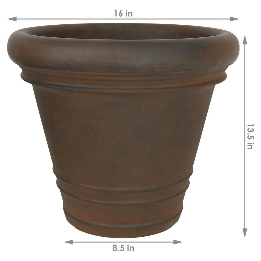 Dimensions of Crozier Indoor/Outdoor Rust Finish Planter