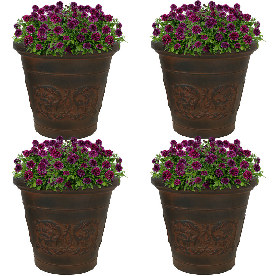 Arabella Rust 16-Inch Diameter Indoor/Outdoor Planter, Set of 4