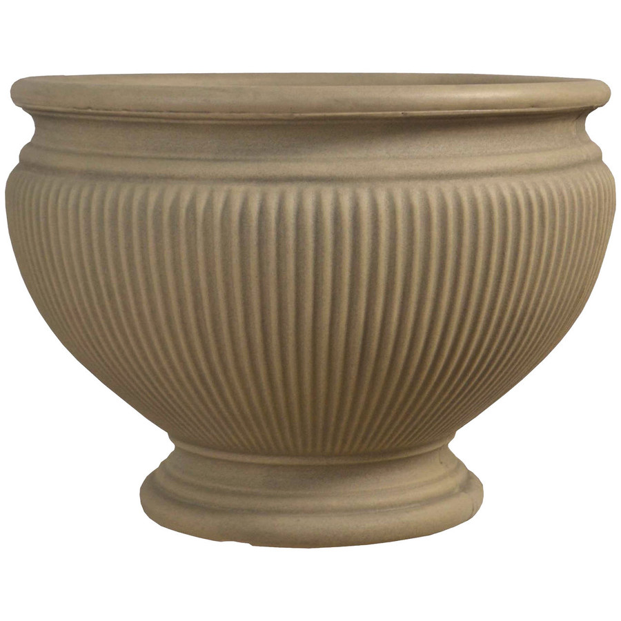 Elizabeth 16-Inch Diameter Pebble Grey Finish Planter, Single