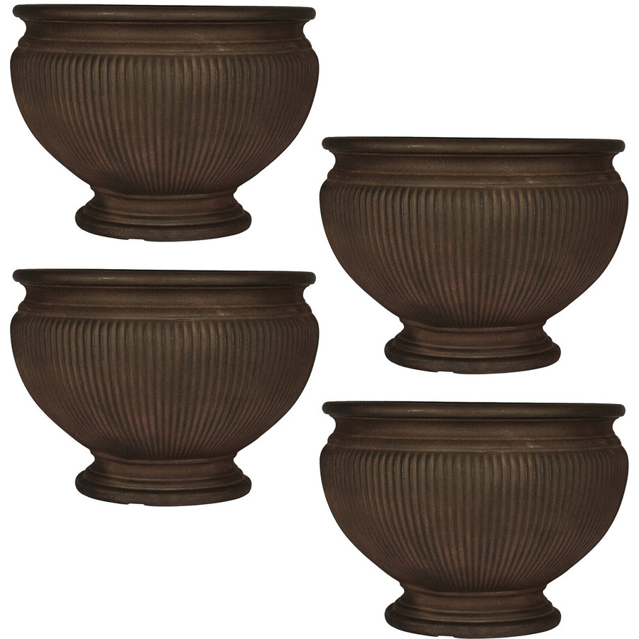 Elizabeth 16-Inch Diameter Rust Finish Planter, Set of 4