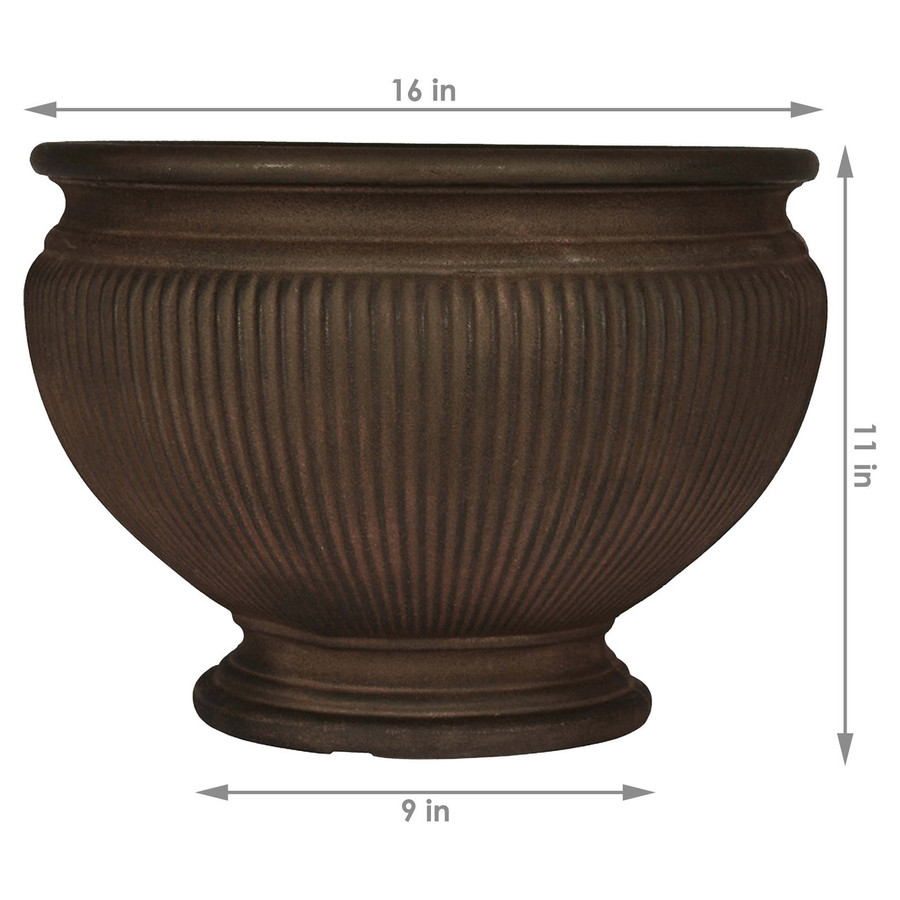 Dimensions of Elizabeth 16-Inch Diameter Rust Finish Planter