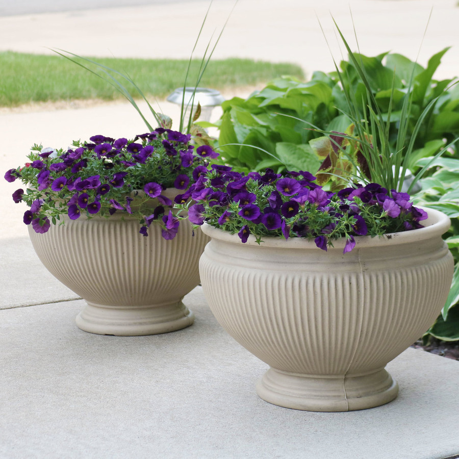 Elizabeth 16-Inch Diameter Planter in Pebble Grey, Set of 2