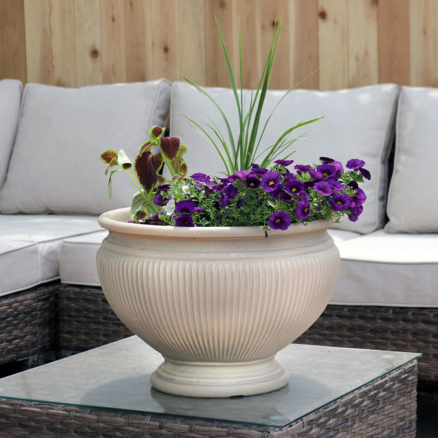 Elizabeth 16-Inch Diameter Planter in Pebble Grey