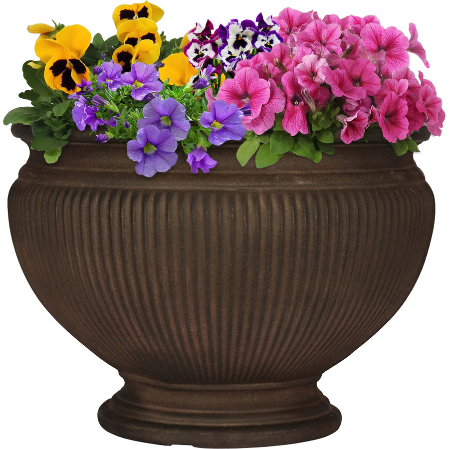 Elizabeth 16-Inch Diameter Rust Finish Planter, Single