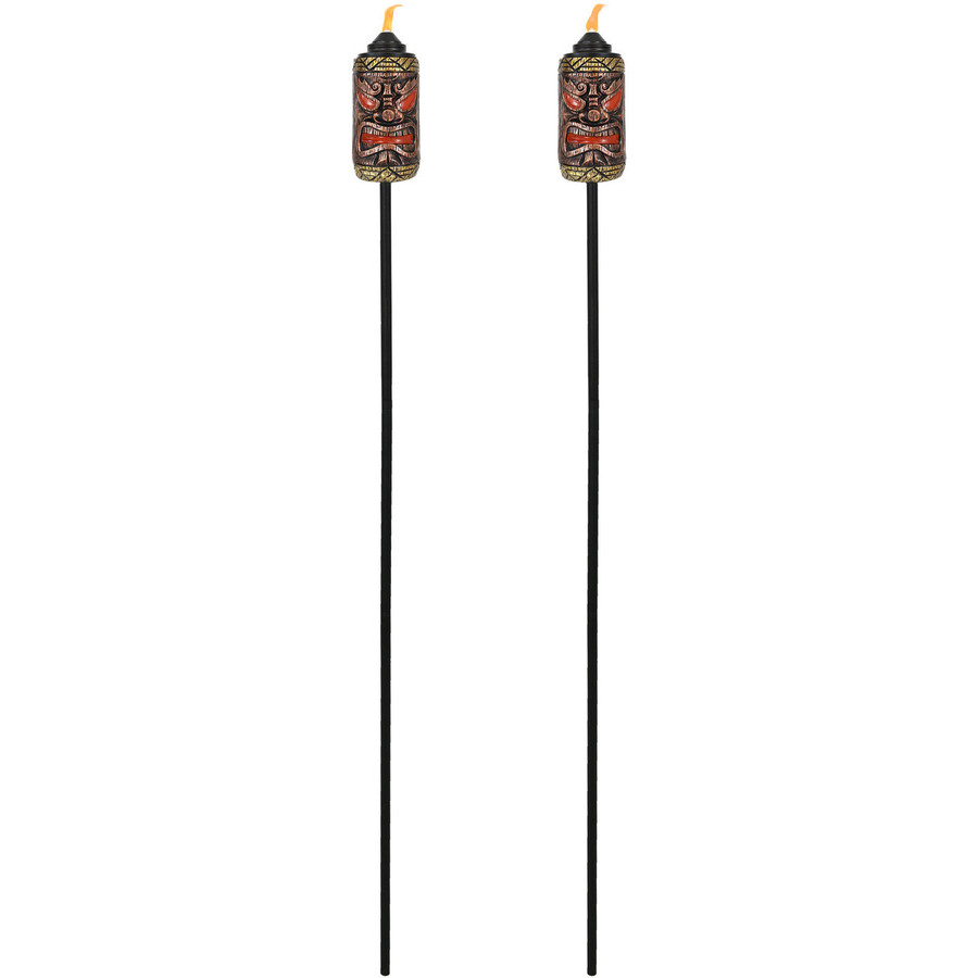 Full View of Tiki Face Outdoor Lawn Torch, Set of 2