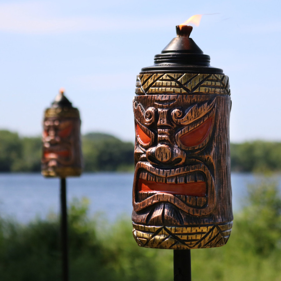 Closeup of Tiki Face Outdoor Lawn Torch, Set of 2