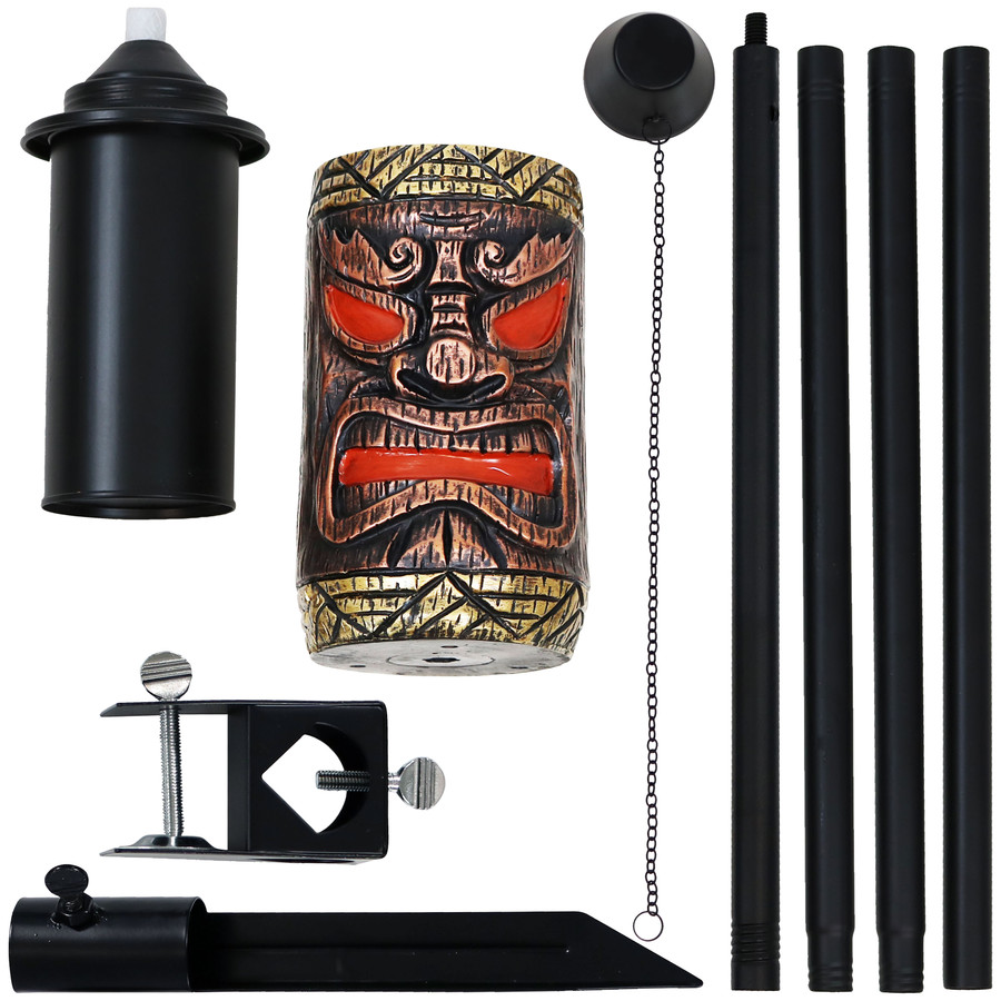Components of Tiki Face Outdoor Lawn Torch