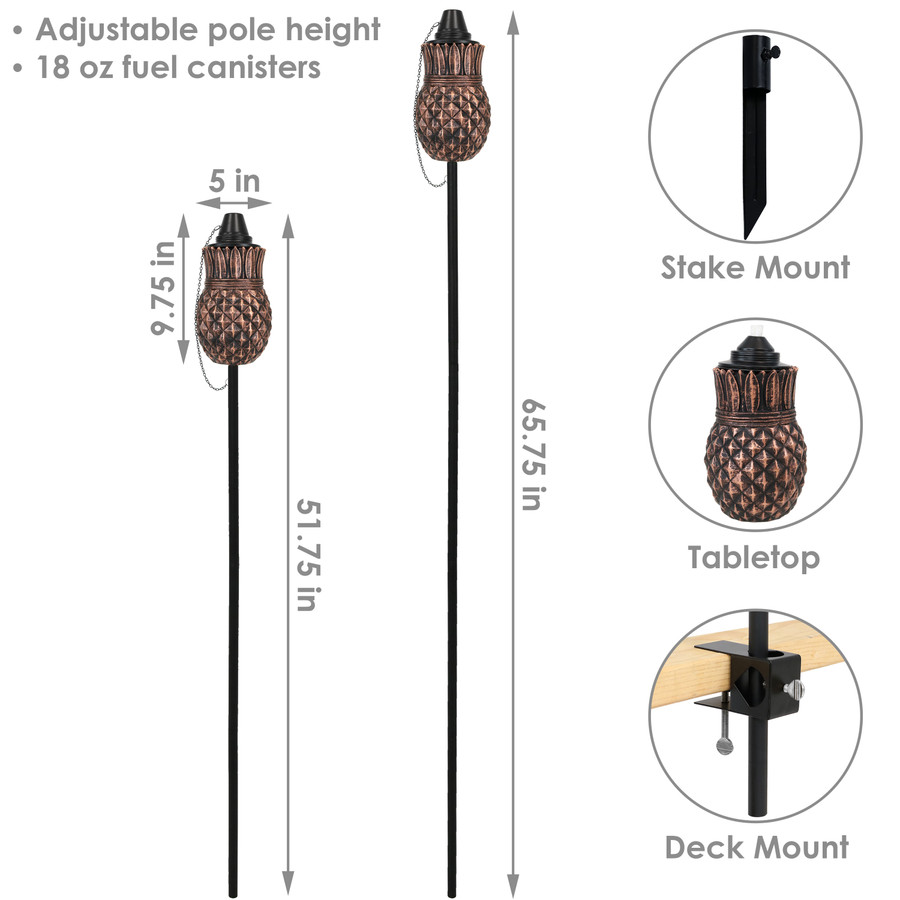 Dimensions of the Pineapple Outdoor Torches
