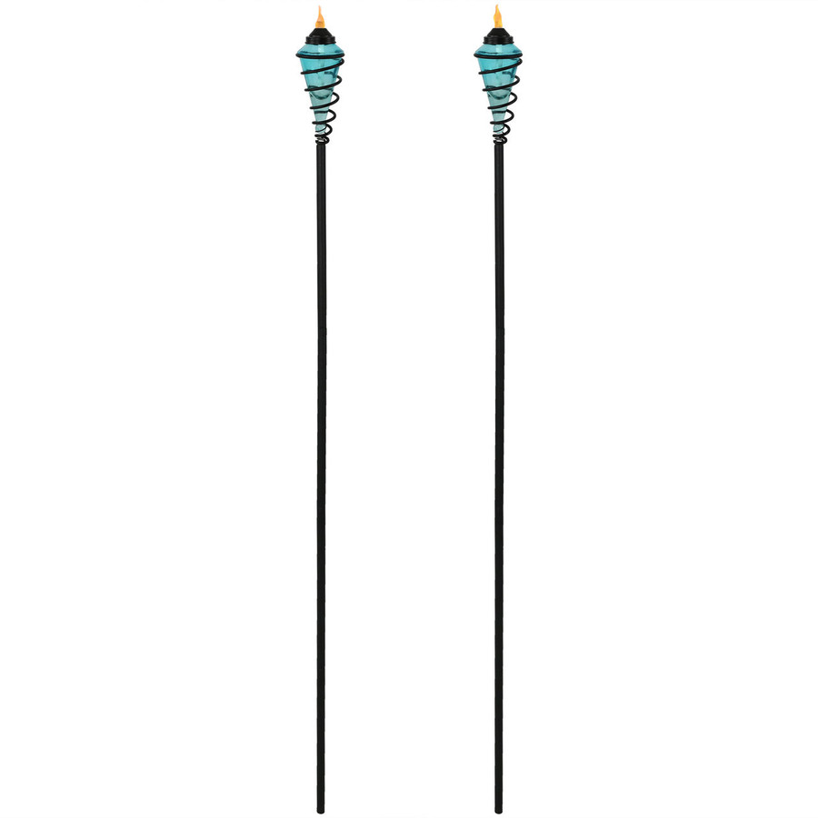 Blue Full View of Metal Swirl with Blue Glass Outdoor Torches, Set of 2