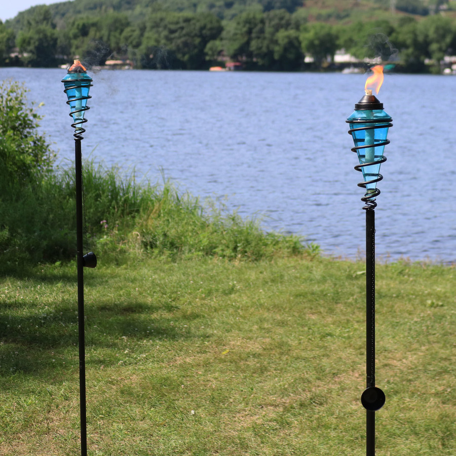 Metal Swirl with Blue Glass Outdoor Torches, Set of 2