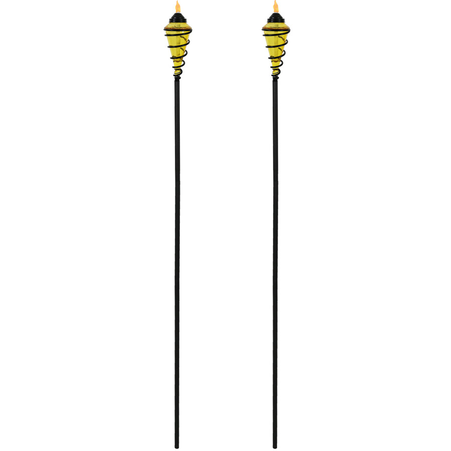 Yellow Full View of Metal Swirl with Blue Glass Outdoor Torches, Set of 2