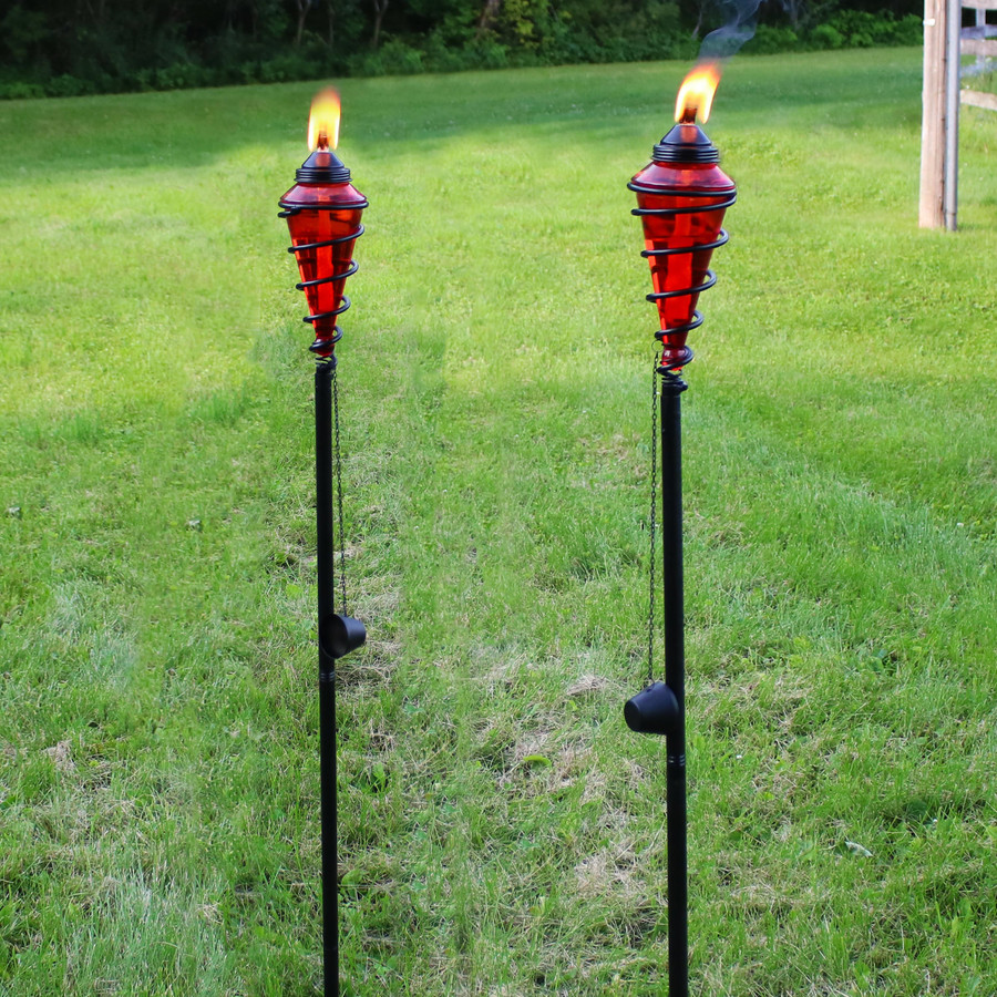 Metal Swirl with Red Glass Outdoor Torches, Set of 2
