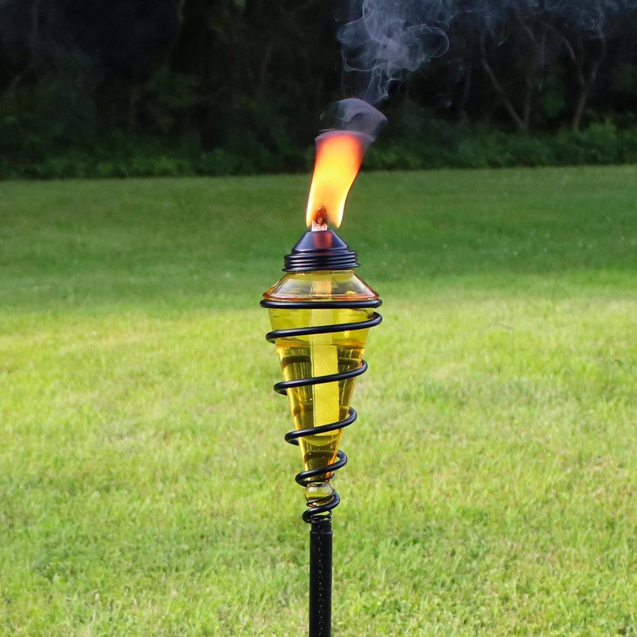 Closeup of Yellow Glass Outdoor Torch