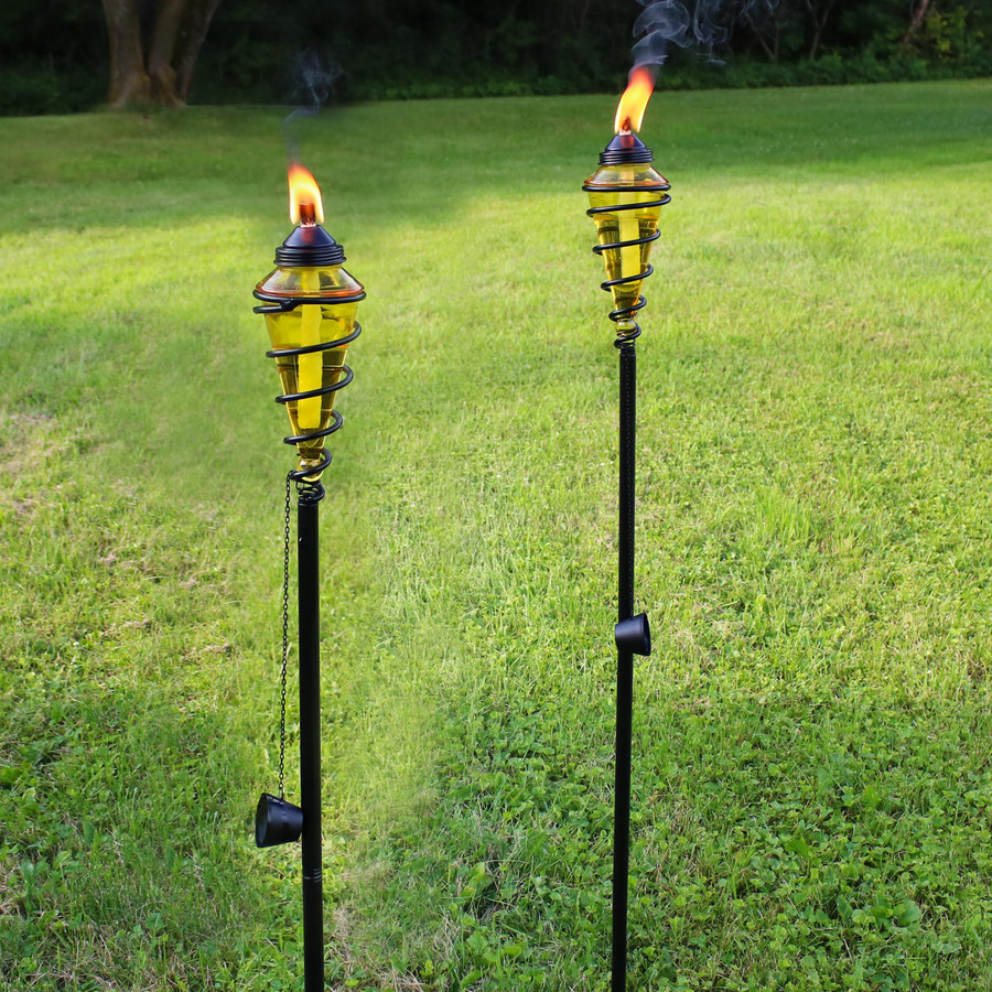 Metal Swirl with Yellow Glass Outdoor Torches, Set of 2