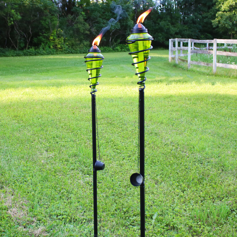Metal Swirl with Green Glass Outdoor Torches, Set of 2