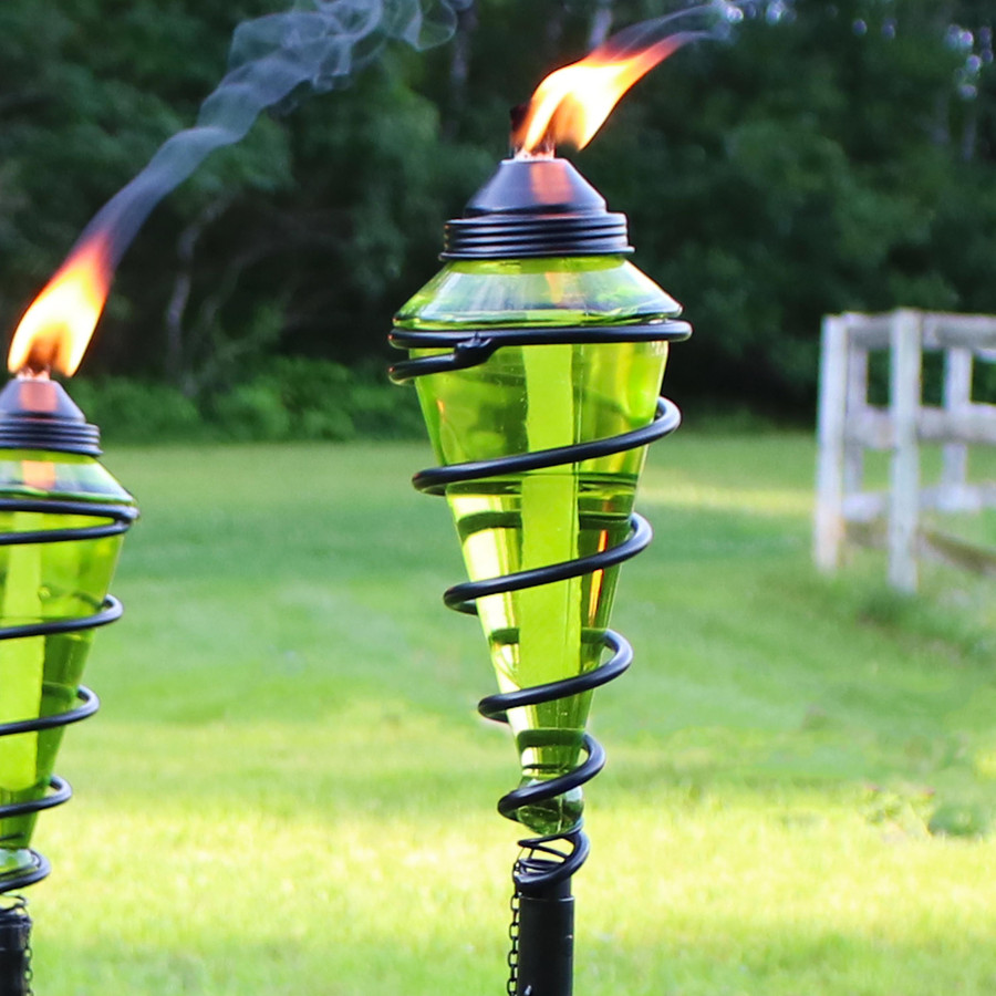 Closeup of Green Glass Outdoor Torch