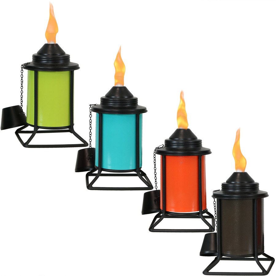Multi-Color Outdoor Tabletop Metal Torches, Set of 4