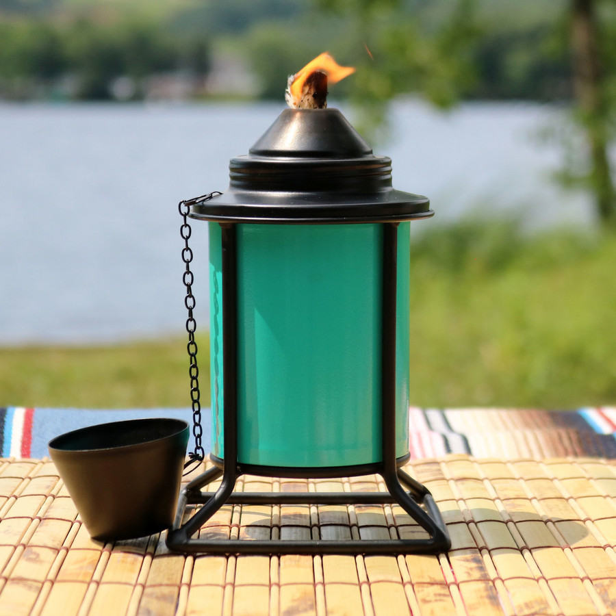 Closeup of Teal Outdoor Tabletop Metal Torch