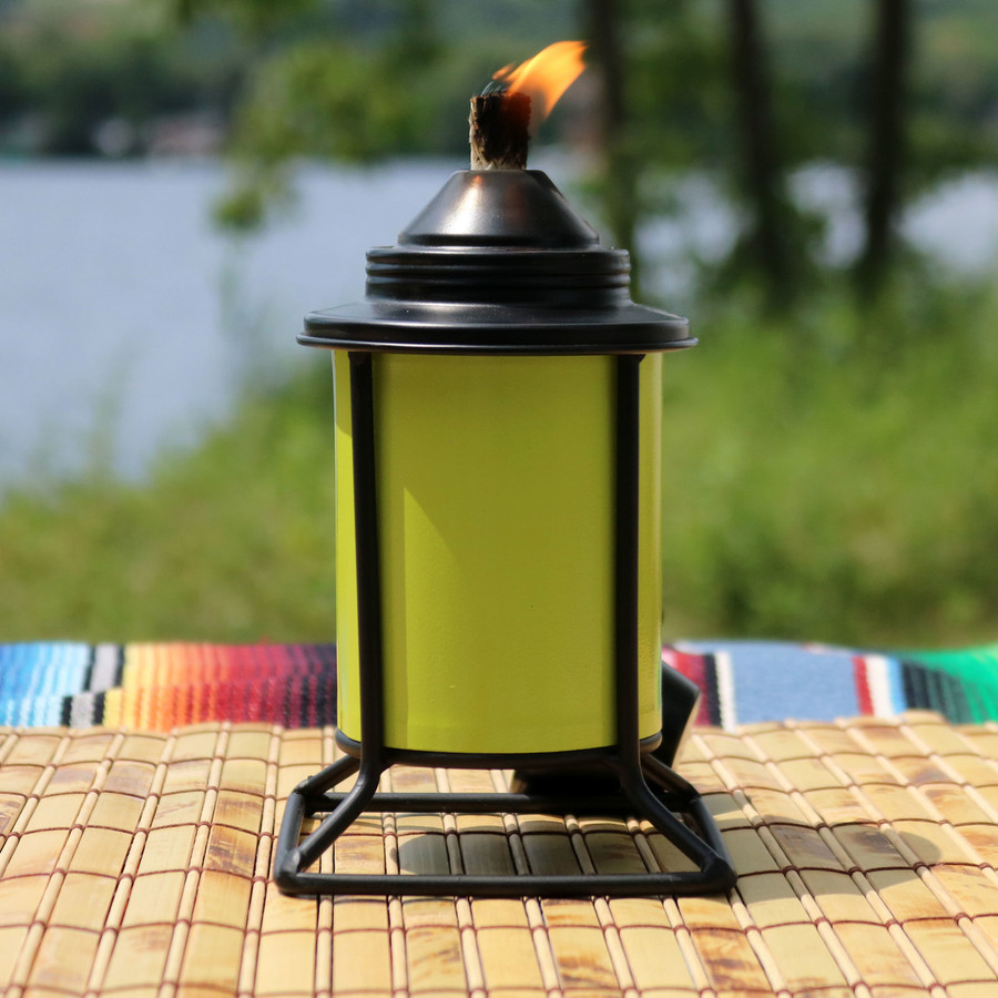 Closeup of Green Outdoor Tabletop Metal Torch