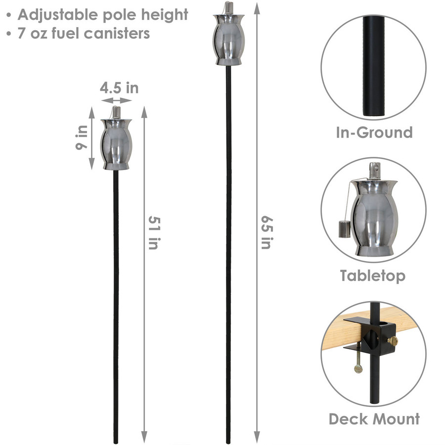 Dimensions of Stainless Steel Outdoor Torch with Steel Snuffer