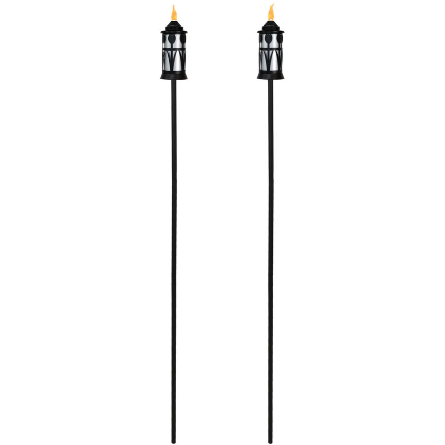 Full View of Black/Silver Outdoor Torch with Tulip Jar Design, Set of 2