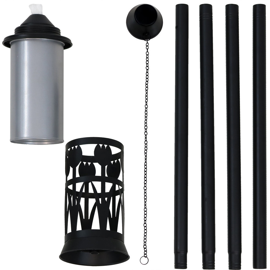 Components of Black/Silver Outdoor Torch with Tulip Jar Design