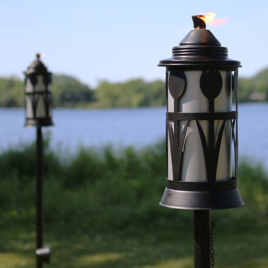Closeup of Black/Silver Outdoor Torch with Tulip Jar Design