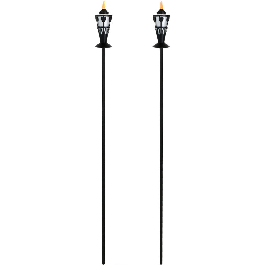 Black/Silver Full View of Copper Outdoor Torch with Tulip Design, Set of 2