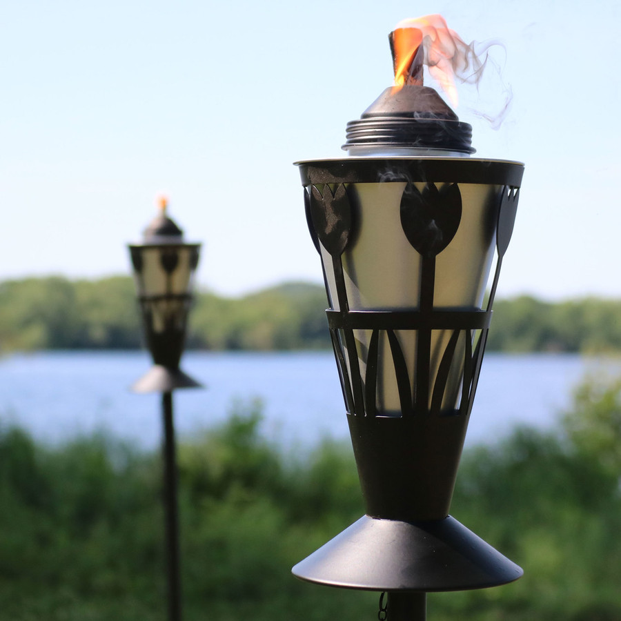 Closeup of Black/Silver Outdoor Torch