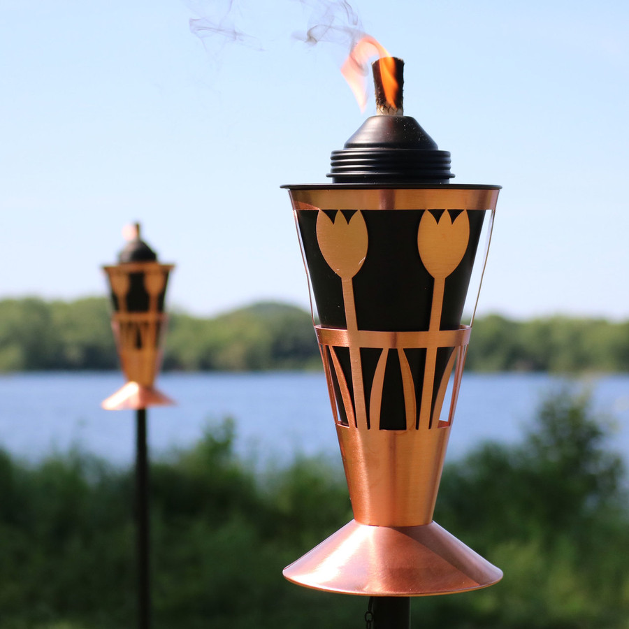 Closeup of Copper Outdoor Torch