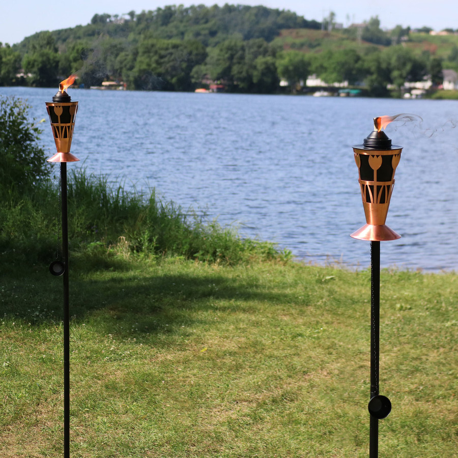 Copper Outdoor Torch in Copper with Tulip Design, Set of 2
