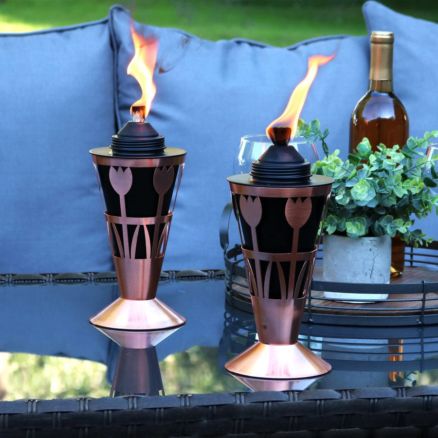 Tabletop Setup of Copper Outdoor Torch