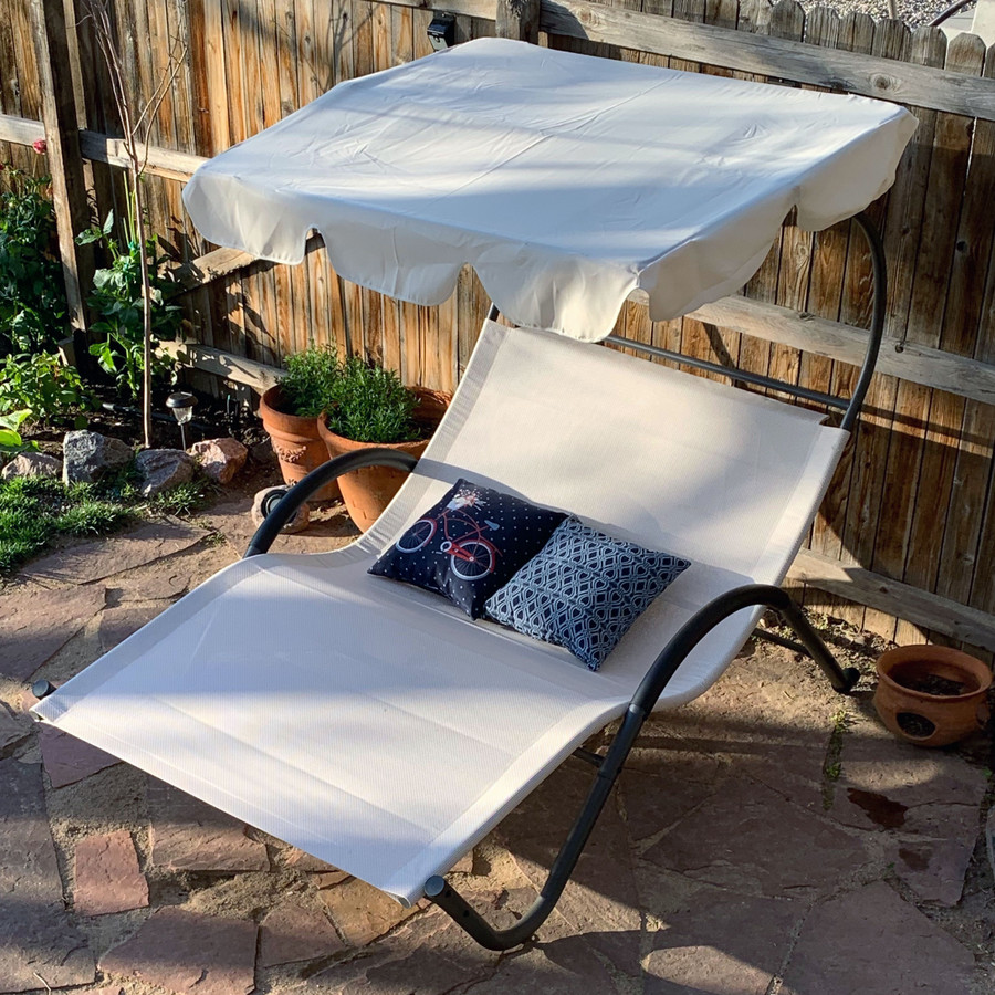 Double Chaise Lounge with Canopy and Headrest Pillows ( Accent Pillows Not Included)