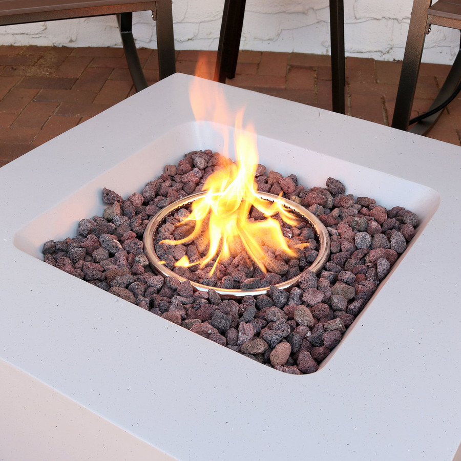 Closeup of Contempo Square Outdoor Propane Gas Fire Pit