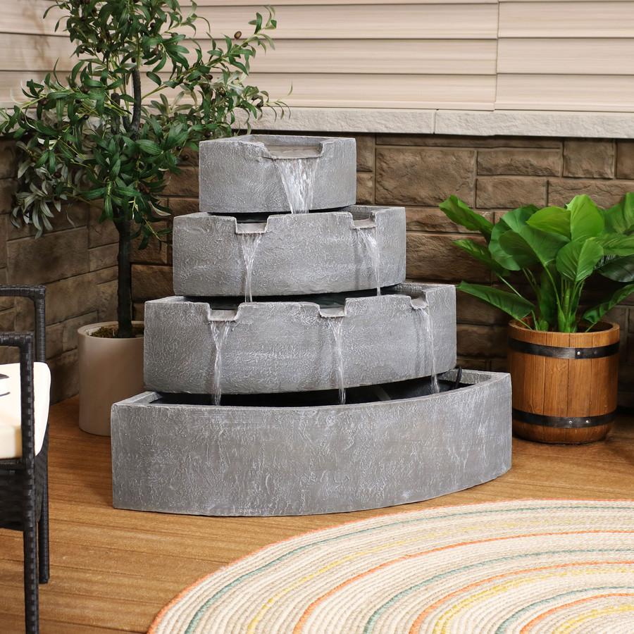 4-Tier Grey Outdoor Corner Waterfall Fountain