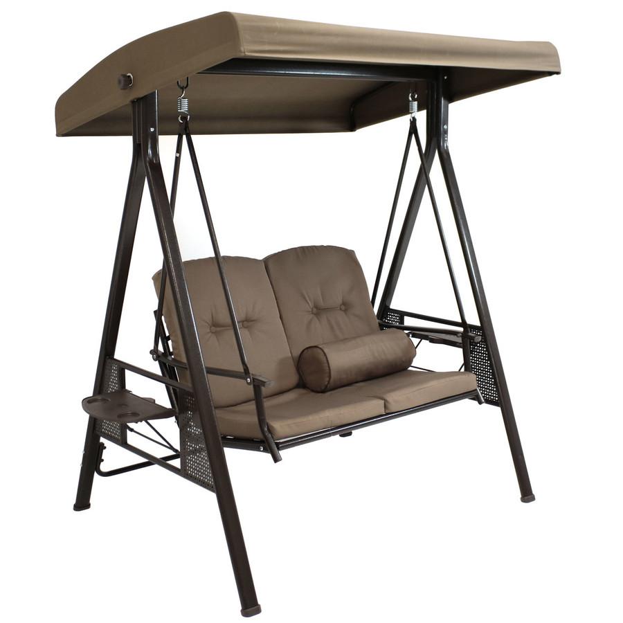 2-Person Steel Frame Outdoor Adjustable Tilt Canopy Patio Loveseat Swing