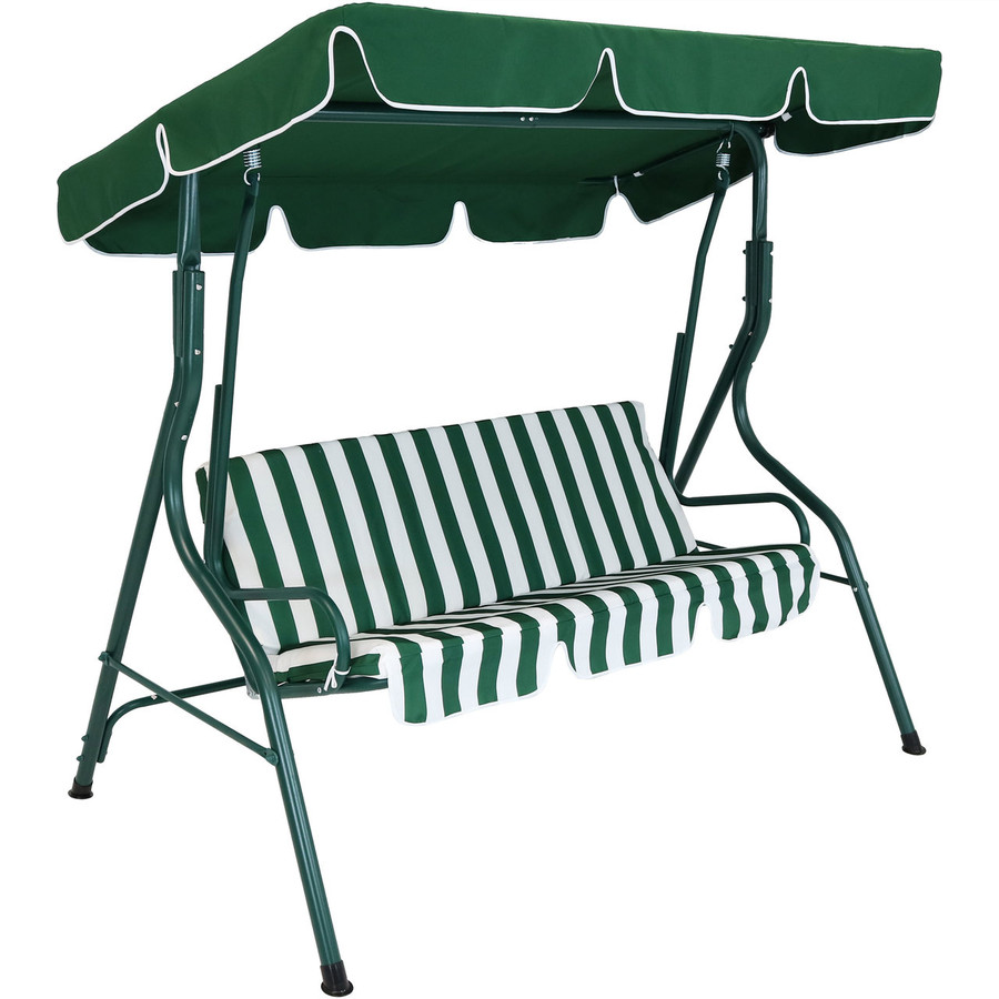 3-Person Steel Frame Adjustable Canopy Patio Swing with Striped Seat Cushion, Green