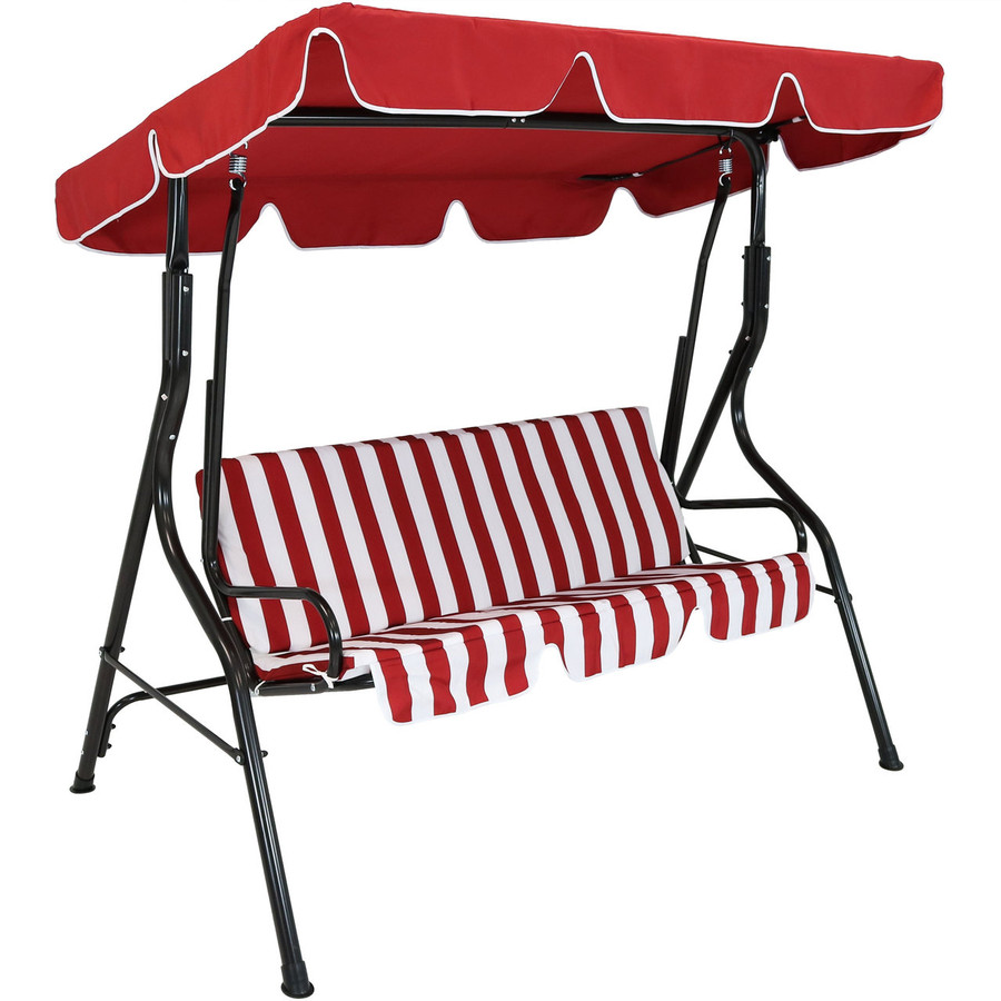 3-Person Steel Frame Adjustable Canopy Patio Swing with Striped Seat Cushion, Red
