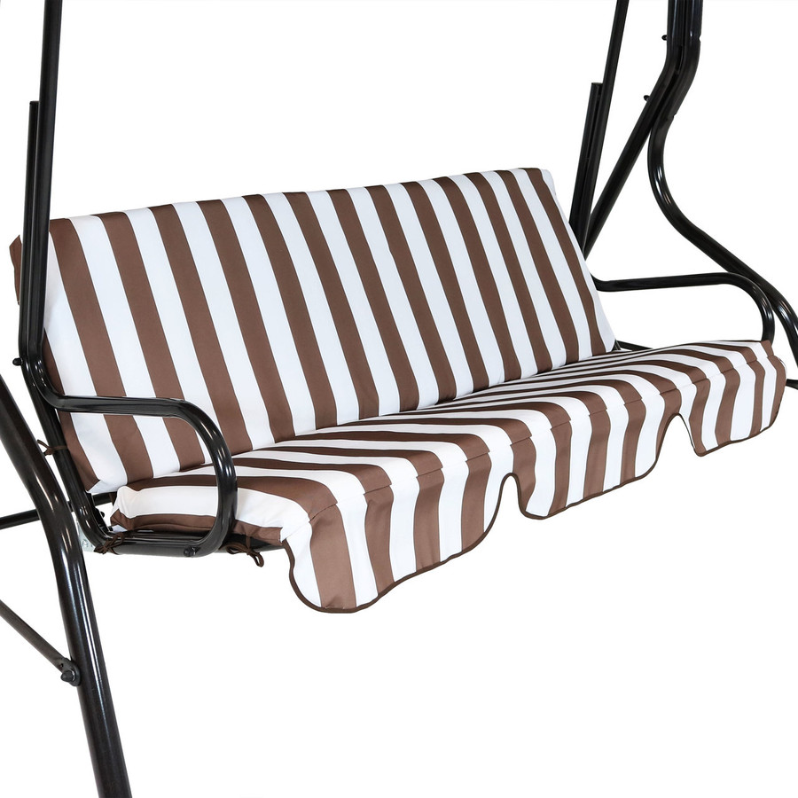Closeup of Striped Seat Cushion, Brown