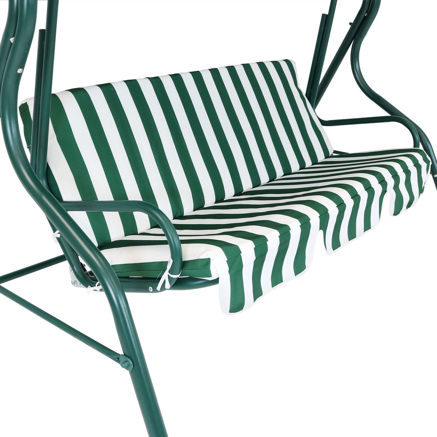 Closeup of Striped Seat Cushion, Green